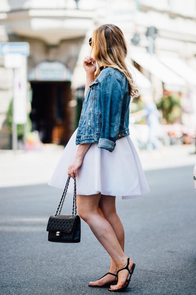 denim jacket Chanel bag