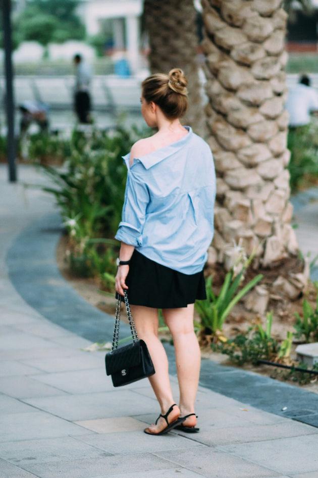 Zara shirt, black skirt, Chanel