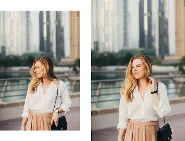Nude maksihame, valkoinen kauluspaita, Chanel Classic Flap, Céline Catherine