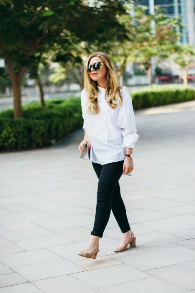 White H&M shirt, Mango slingback