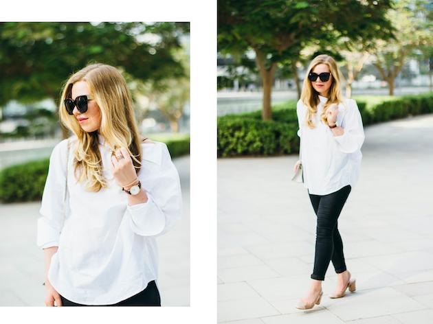 White asymmetric H&M shirt, Mango slingback heels in Chanel style