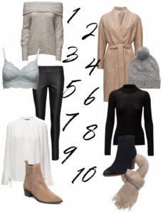 Neuraalinsävyisiä vaatteita alennuksella: harmaa neule, camel coat, nahkahousut, harmaa pipo, muhkea huivi