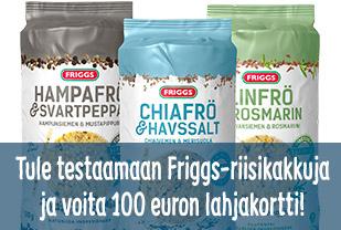 Tule testaamaan Friggs-riisikakkuja ja voita 100 euron lahjakortti!