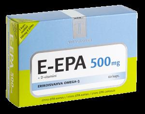 E-EPA 500 mg, + D-vitamiini, 60 kapselia