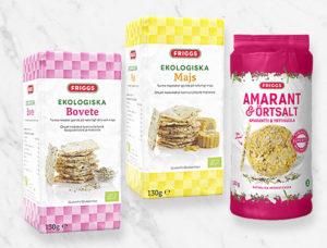 Friggs maissikakut. Kuvassa neliömalliset luomukakut, makuina maissi ja maissi plus tattari. Supersiemen maissikakussa makuna amarantti ja yrttisuola.