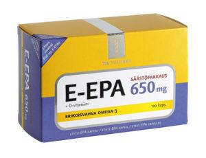E-EPA 650 mg + D-vitamiini, säästöpakkaus 120 kapselia