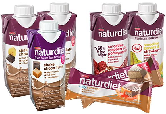 Naturdietin shake- ja smoothie-juomat ja ateriankorvikepatukat