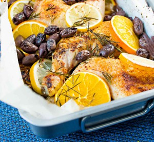 broilerinkoivet uunissa sitrusten ja oliivien kanssa