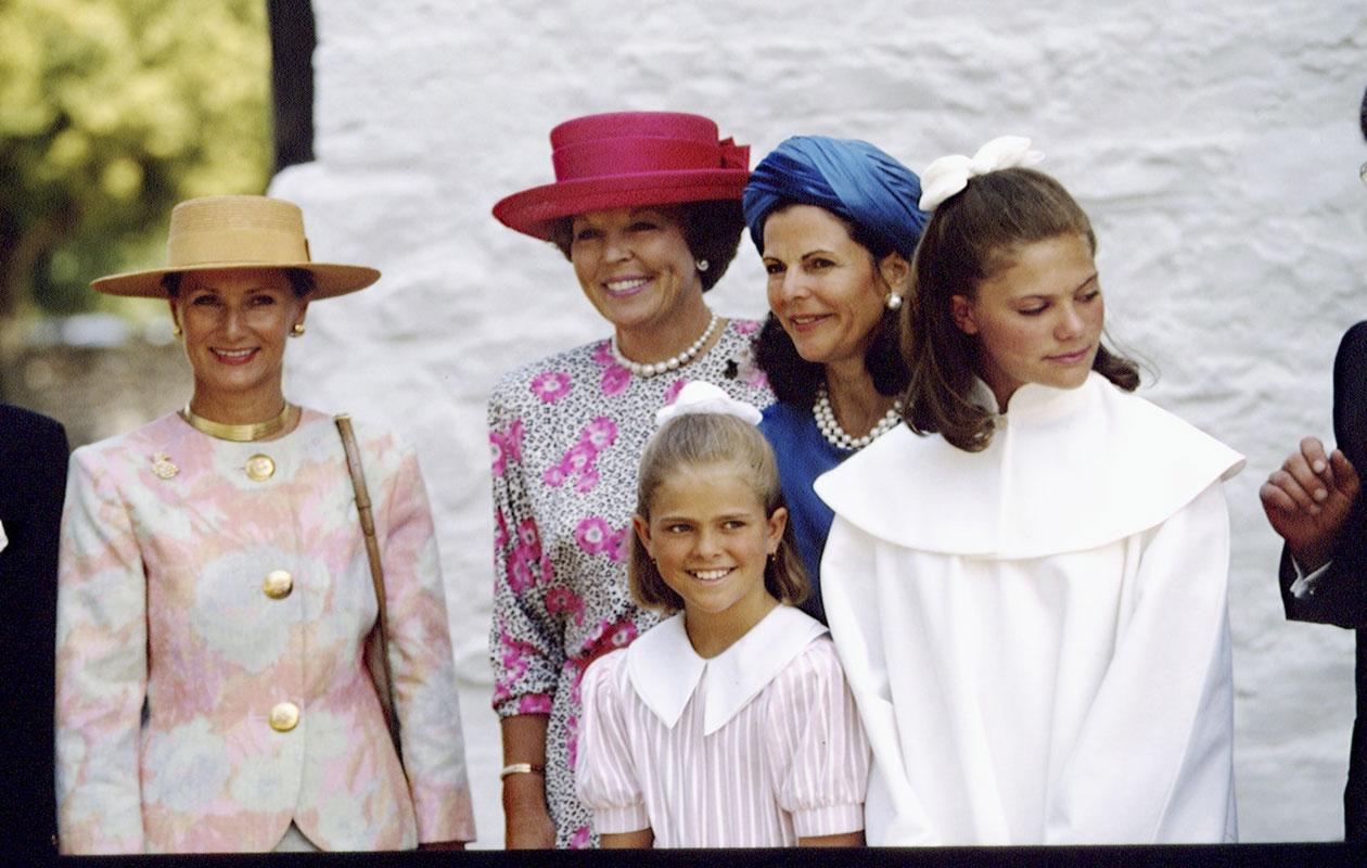 Victorian konfirmaatiota juhlittiin 1992. Kuvassa Madeleinen ja Silvian vieressä Alankomaiden silloinen hallitsija, kuningatar Beatrix.