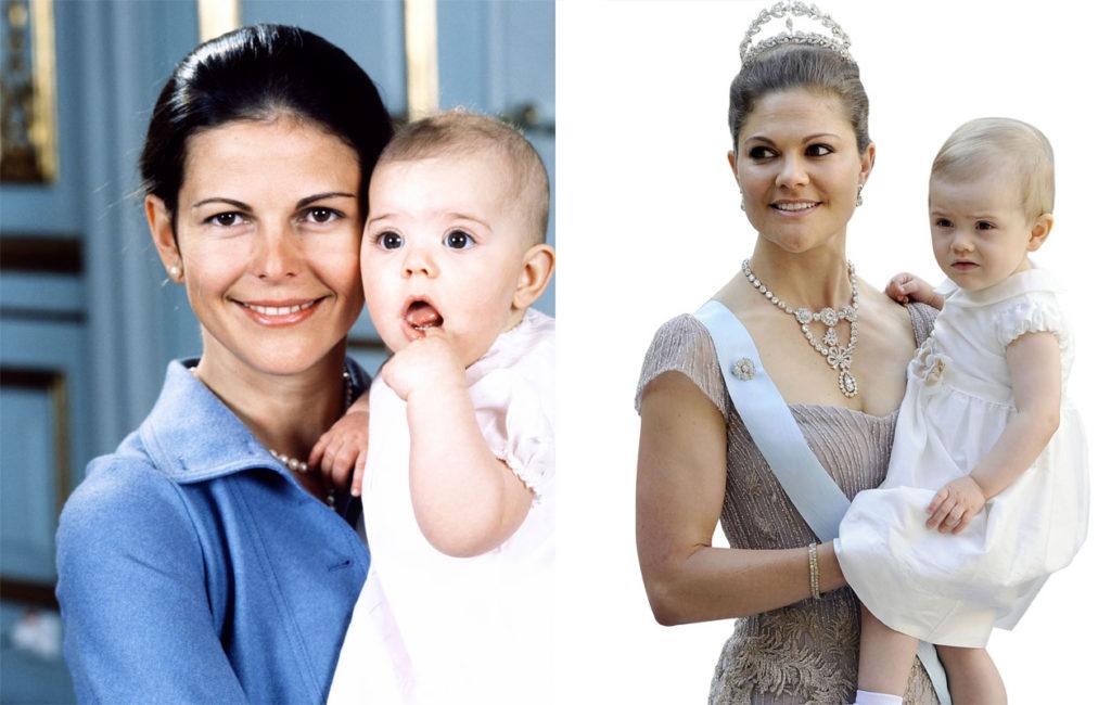 Kuningatar Silvia yksivuotiaan esikoisensa Victorian kanssa 1978, sekä Victoria ja yksivuotias Estelle-tytär kesällä 2013.
