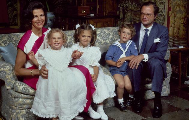 Kuningasperhe Drottningholmin linnassa vuonna 1984.