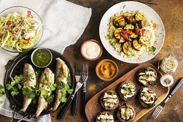 chermoulasiikaa, zaatarsieniä ja ras el hanout-maustettua couscousia