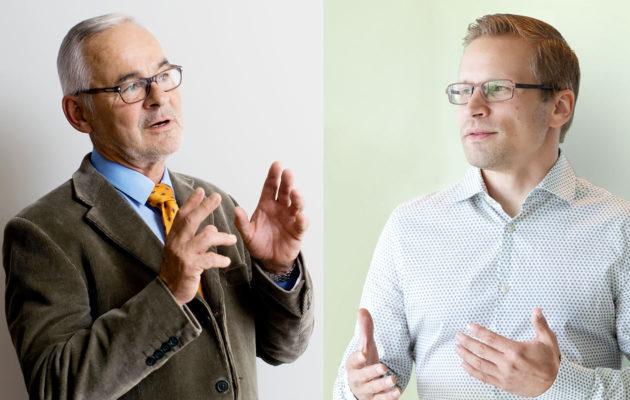 Urpo Kangas ja Mikko Niemelä ovat samaa mieltä siitä, että perintöasioista kannattaisi puhua perheissä.  <br />