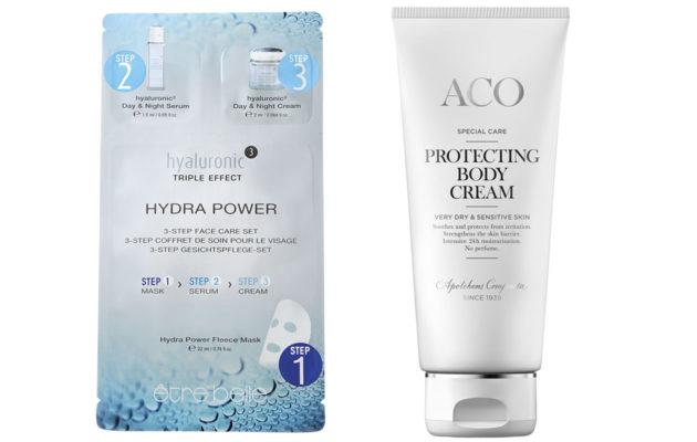 Être Belle Hydra Power ja Aco Special Care Protecting Body Cream.