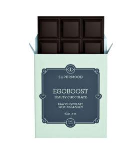 Supermood Egoboost-suklaata voi syödä hyvällä omallatunnolla, sillä se sisältää kollageenia.