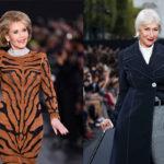 Jane Fonda (vas.) ja Helen Mirren säteilivät catwalkilla.