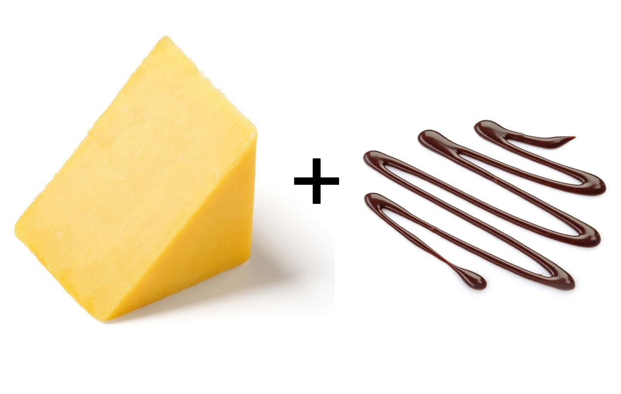cheddar-juusto ja suklaa